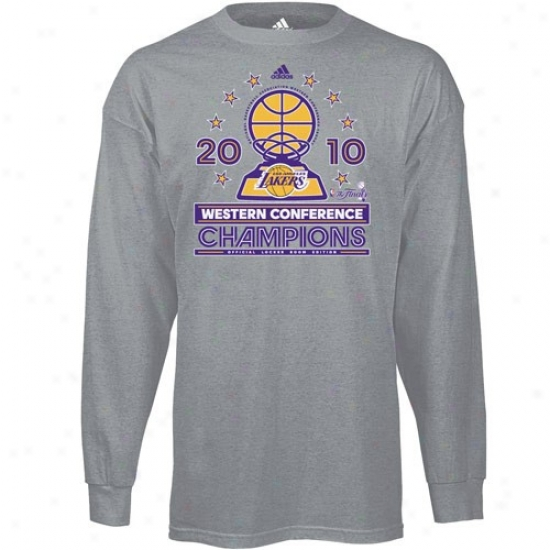 Los Angeles Lakers Apparel: Adidas Los Angeles Lakers 2010 Nba Western Meeting for consultation Champions Ash Conference Elite Long Sleeve Official Locker Room T-shirt