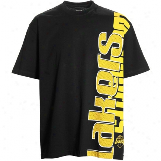 Los Angeles Lakers Apparel: Los Angeles Lakers Black Sideways T-shirt