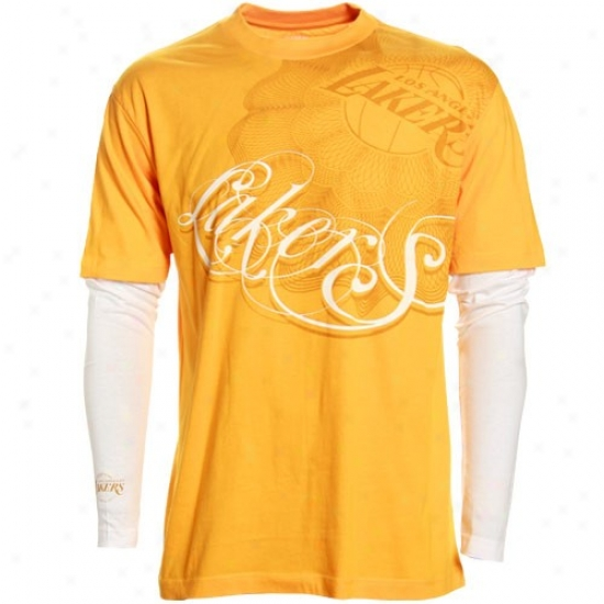 Los Angeles Lakers Apparel: Los Angeles Lakers Gold Double Deuce Double Layer T-shirt