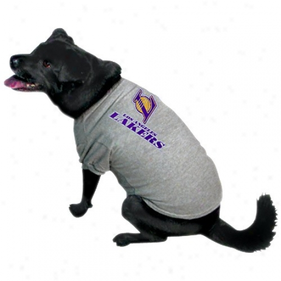 Los Angeles Lakers Ash Pet Logo T-shidt