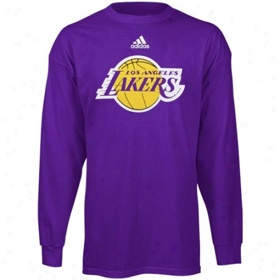 Los Angeles Lakers Attire: Adidas Los Angeles Lakers Youth Purple Primary Logo Long Sleeve T-shirt