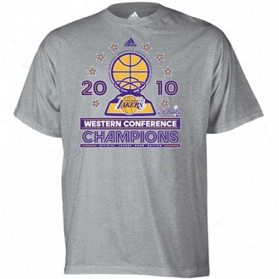 Los Angeles Lakers Attire: Adidas Los Angeles Lakers 2010 Nba Western Conference Champions Youth Ash Conference Elite Official Locker Room T-shirt