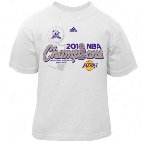 Los Angeles Lakers Atyire: Adidas Los Angeles Lakers Toddler White 2010 Nba Champions Center Court Elite Locker Room T-shirt