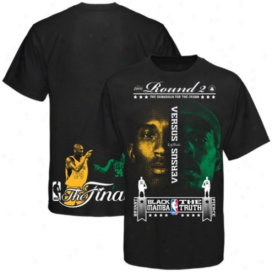 Los Angeles Lakers Dress: Los Angeles Lakers Vs. Boston Celtics 2010 Nba Finals Black Kobe Bryant-paul Pierce Battle Faces T-shirt