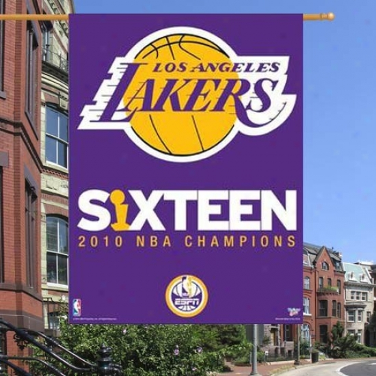 Los Angeles Lakers Banner : Los Angeles Lakers 2010 Nba Champions Purple Espn 16-time Champs Vinyl Banner Banner