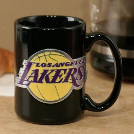 Los Angeles Lakers Black 15oz. Pewter Logo Ceramic Mug