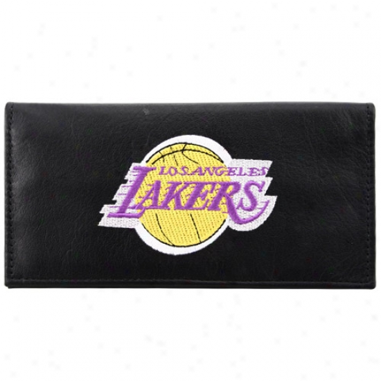 Los Angeles Lakers Black Embroidered Leather Checkbook Cover