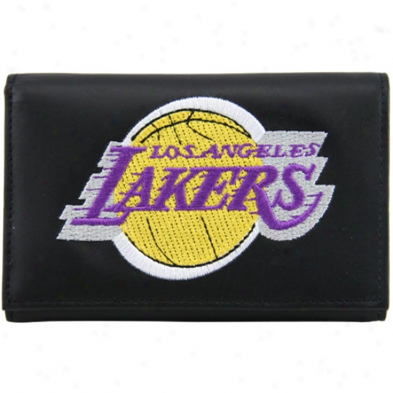 Los Angeles Lakers Black Leather Embroidered Trifold Wallet