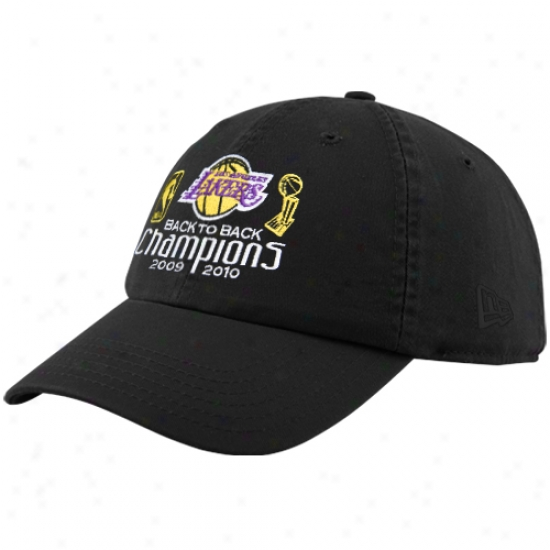 Los Angeles Lakers Cap : New Era Los Angeles Laksrs Ladies Black 2010 Nba Champions Back To Back Champs Adjustable Slouch Cap