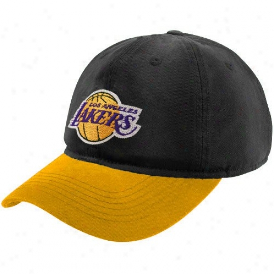 Los Angeles Lakers Caps : Adidas Los Angeles Lakers Black-gld Garment Washed Slouch Caps