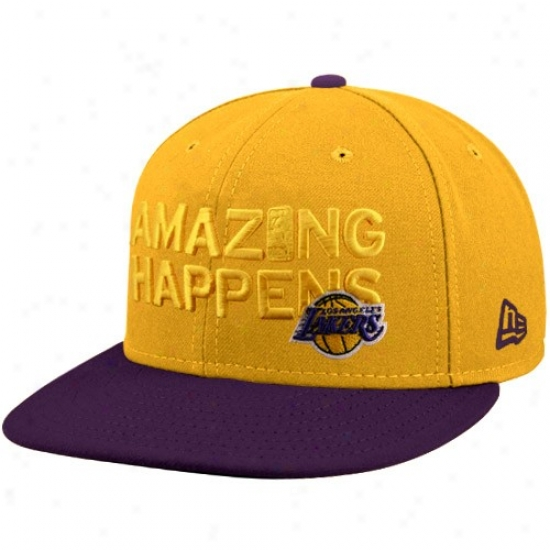 Los Angeles Lakers Caps : New Era Los Angeles Lakers Gold Espn Amazing Happens Fitted Caps