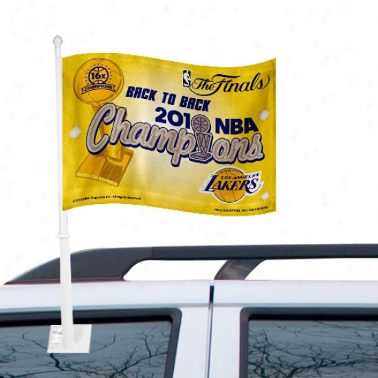 Los Angeles Lakers Flag : Los Angeles Lakers 2010 Nba Champions Baack-to-back Champs Car Flag
