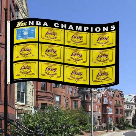 Los Angeles Lakers Flags : Los Angeles Lakers 2010 Nba Champions 16-time Champs 3 X 5 Flagz