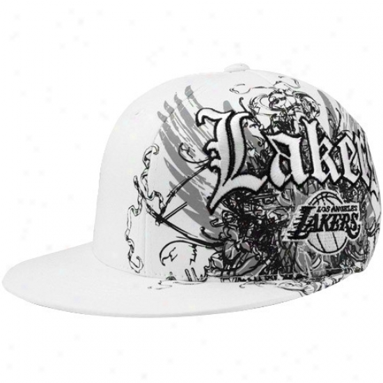 Los Angeles Lakers Gear: Adidas Los Angeles Lakers White Wong Flex Hat