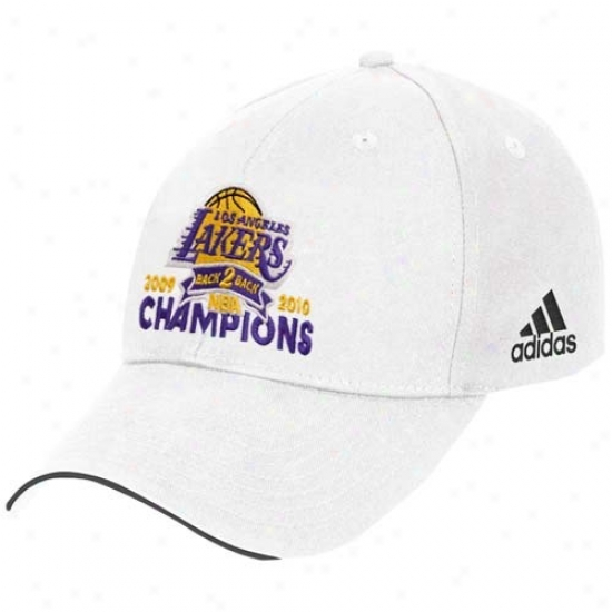 Los Angeles Lakers Gear: Adidas Los Angeles Lakers  White 2010 Nba Champions Back-2-back Champs Basic Logo Adjustable Hat
