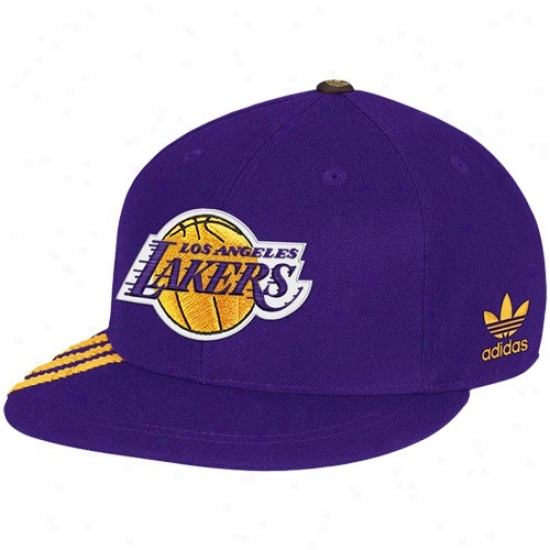 Los Angeles Lakers Gear: Adidas Los Angeles Lakers Purple Championshpi Years Fashion Fitted Hat