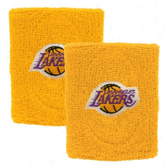 Los Angeles Lakers Gear:L os Angeles Lakers Gold Team Logo Wristbands