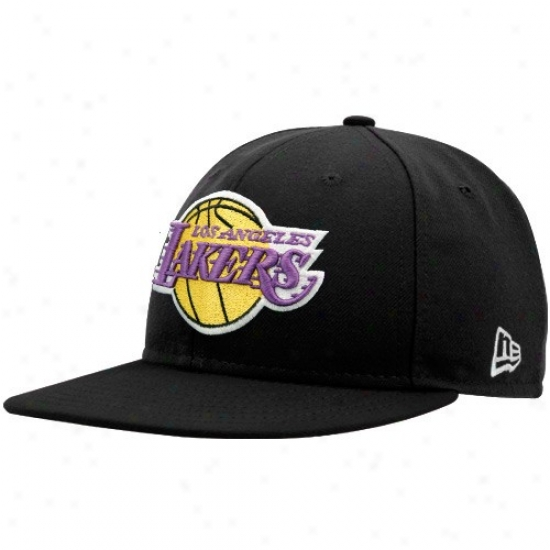Los Angeles Lakers Gear: New Era Los Angeles Lakers Black 59fifty Fitted Hat