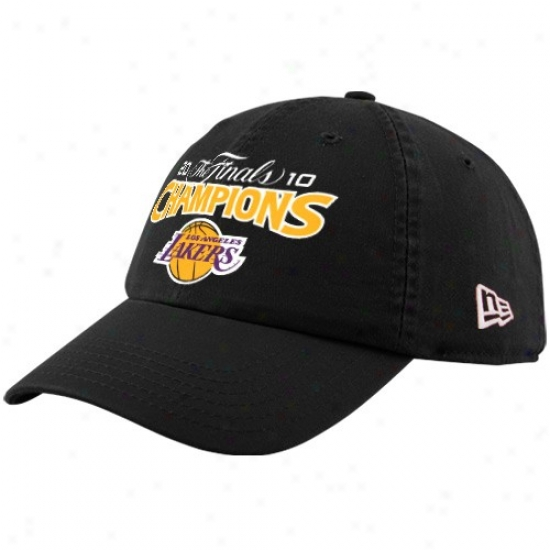 Los Angeles Lakers Gear: New Era Los Angeles Lakers Black 2010 Nba Chamions Adjustaboe Slouch Hat