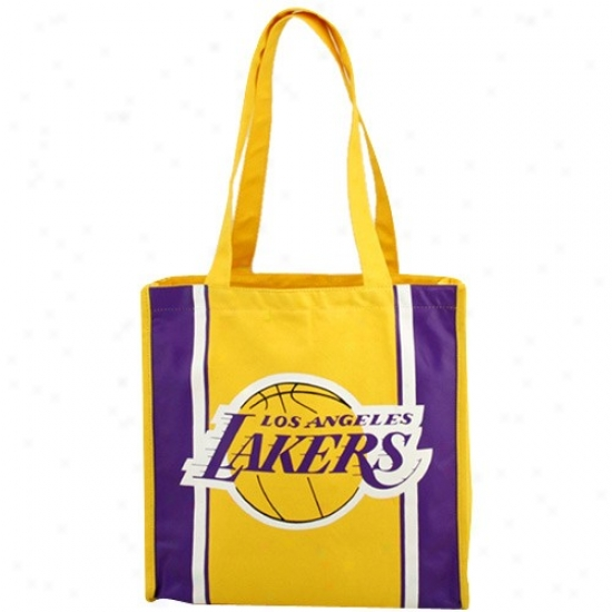 Los Angeles Lakers Gold Team Stripe Canvas Tote