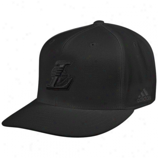 Los Angeles Lakers Hat : Adids Los Angeles Lakdrs Black Tonal Fitted Hat