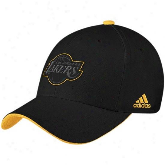 Los Angeles Lakers Hat : Adidas Los Angeles Lakers Black Tonal Flex Fit Hat