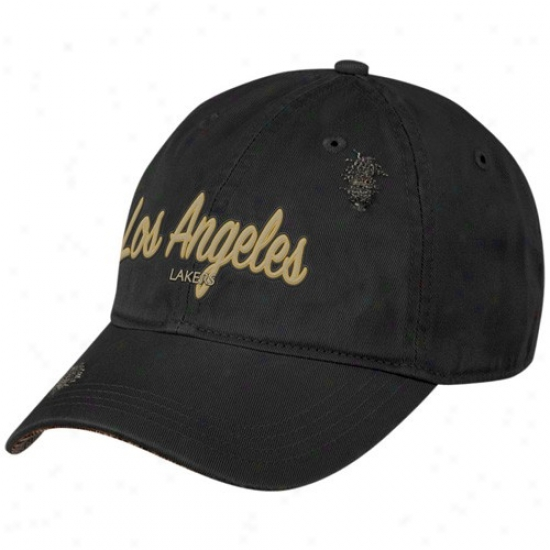 Los Angeles Lakers Hat : Adidas Los Angeles Lakers Black Altternate Clownish gait Hat