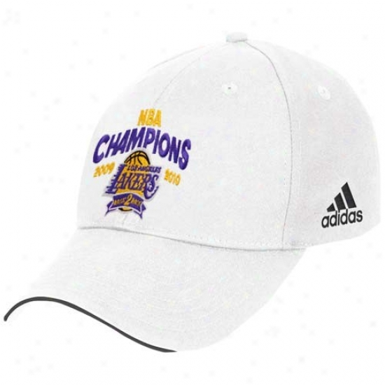 Los Angeles Lakers Hat : Adidas Los Angeles Lakers  White 2010 Nba Champions Back-2-back Champs Basic Logo Adjustable Hat