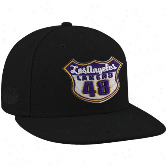 Los Angeles Lakers Hat : New Era-espn Los Angeles Lakers Black Established Roads Premium Fitted Hat