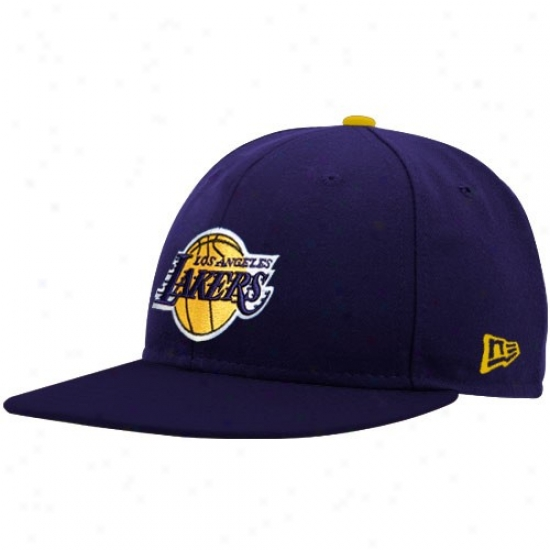 Los Angeles Lakers Hat : New Era Los Angeles Lakers Purple Logo 59fifty Fitted Hat