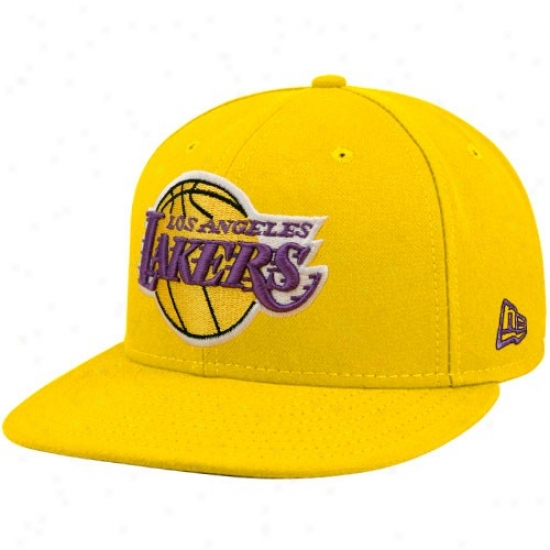 Los Angeles Lakers Hat : Repaired Erw Los Angeles Lakerz Gold 59fifty Primary Logo Flat Edge Fitted Hat