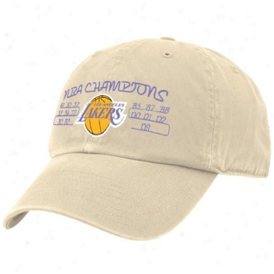 Los Angeles Lakers Hat : Twins '47 Los Angeles Lakers Natural 15-time Nba Champions Adjustable Slouch Hat