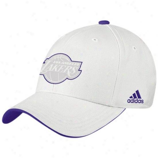 Los Angeles Lakers Hats : Adidas Los Angeles Lakers White Tonal Logo Flex Fit Hats