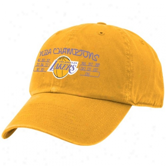Los Angeles Lakers Hats : Twins '47 Los Angeles Lakers Gold 15-time Nba Champions Adjustable Slouch Hats