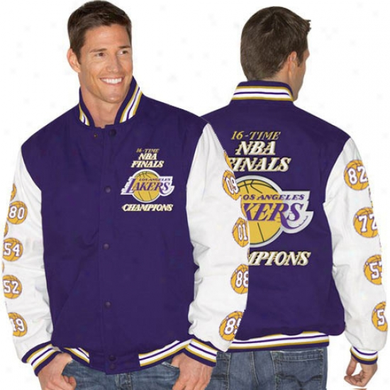 Los Angeles Lakers Jacket : Los Angeles Lakers 2010 Purple-white Nba Champions Twill 16-time Nba Finals Champs Jacket