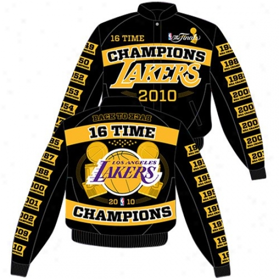 Los Angeles Lakers Jackets : Los Angeles Lakers Black 2010 Nbq Champions Twill Embroidered Applique Champs Jackets