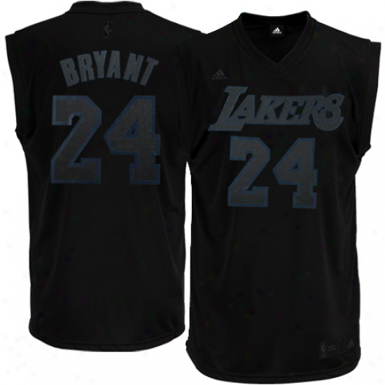 Los Angeles Lakers Jersey : Adidas Kobe Bryant Los Angeles Lakers New Replica Performance Jersey-black-on-black