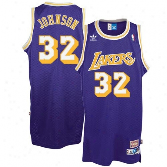 """los Angeles Lakers Jersey : Adidas Los Angeles Lakers #32 Earvin """"magic"""" Johnson Purple Hardwood Classic Swingman Throwback Basketball Jersey"""