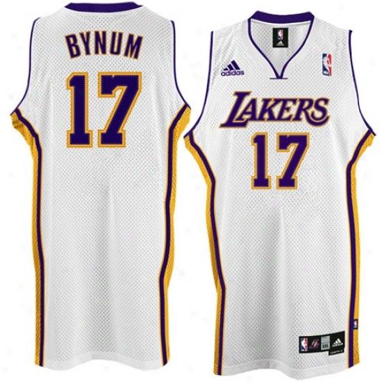 Los Angeles Lakers Jerseys : Adidas Los Angeles Lakers #17 Andrew Bynum White Swingman Basketball Jerseys