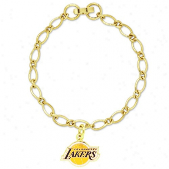 Los Angeles Lakers Ladies Gold-tone Charm Bracelet