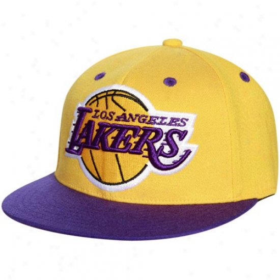 Los Angeles Lakers Merchandise: Adidas Los Angeles Lakers Gold-purple 210 Fitted Flexfit Plain Brim Hat