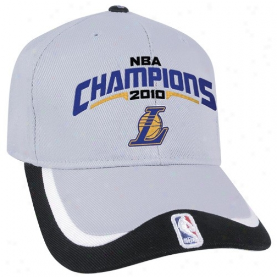 Los Angeles Lakers Merchandise: Los Angeles Lakers Gray-black 2010 Nba Champions Achilles Structured Unbrushed Cotton Adjustable Hat
