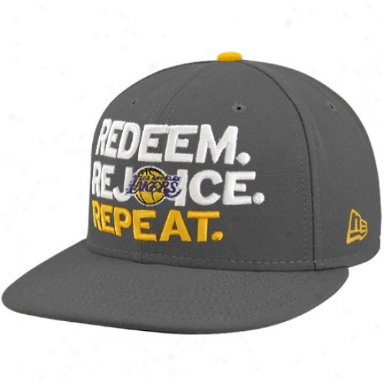 Los Angeles Lakers Mrchandise: New Era-espn Los Anfeles Lakers Charcoal Repeat Rate above par Fitted Hat