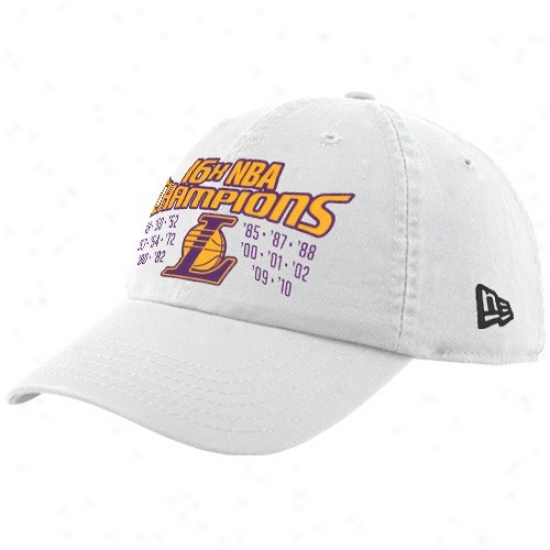 Los Angeles Lakers Merchandise: New Epoch Los Angeles Lakers White 2010N ba Champions 16-time Multi-champs Adjustable Slouch Hat