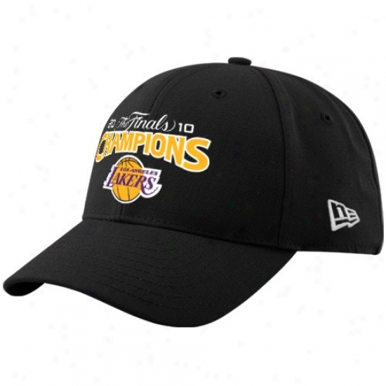 Los Angeles Lakers Merchandise: New Era Los Angeles Lakers Dark 2010 Nba Champions Structured Wool Adjustable Hat