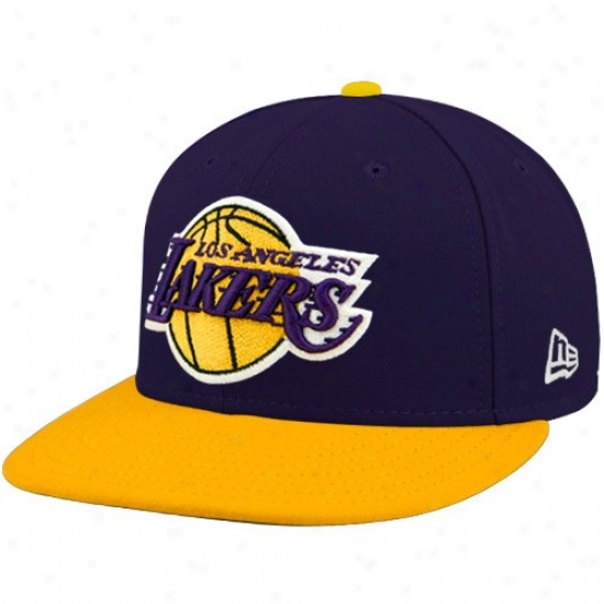 Los Angeles Lakers Medchandise: New Era Los Angeles Lakers Purple-gold 59fifty Radical Logo Flat Brim Fitted Hqt
