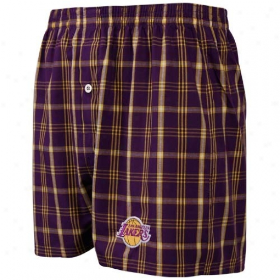 Los Angeles Lakers Purple Plaid Genuine Boxer Shorts