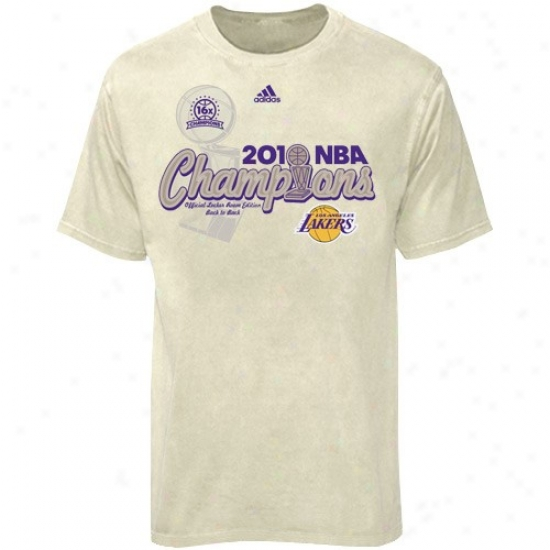 Los Angeles Lakers Shirt : Adidas Los Angeles Lakers Cream 2010 Nba Champions Centdr Court Elite Premium Locker Room Shirt