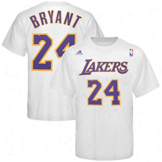 Los Angeles Lakers Shirt : Adidas Los Angeles Lakers #24 Kobe Bryatn White Player Shirt