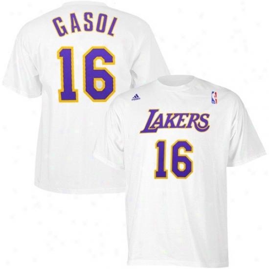 Los Angeles Lakers Shirt : Adidas Los Angeles Lakers #16 Pau Gasol White Net Player Shirt